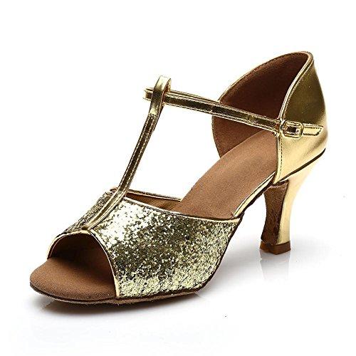 HROYL Damen Tanzschuhe/Latin Dance Schuhe Satin Ballsaal Modell-D7-216 7CM Gold