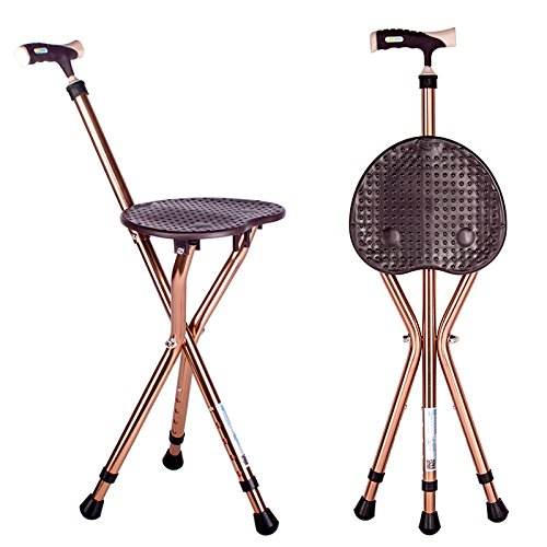 Folding Cane Seat 441 lbs Capacity Thick Aluminum Alloy Cane Stool Crutch Chair Seat 3 Legs Cane Seats Highly Adjustable Walking Stick Tall Unisex for Elderly Brown - Cane Folding Stool