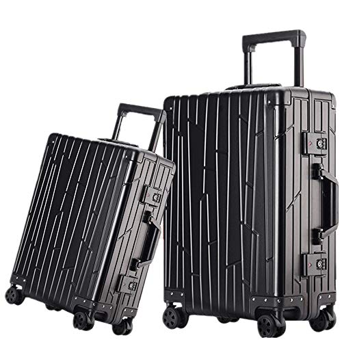 Durable Two Pieces Trolley Suitcase Luggage Suitcase 20 Inch 24 Inch TSA Lock Aluminum-Magnesium Alloy Portable Carry On…
