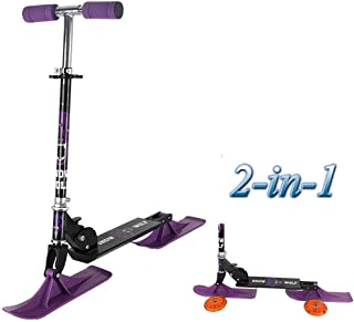 Voitures Scooter Pliant, Scooter 2 en 1 - avec Roues Et Scooter avec des Skis Freestyle Snowboard Tout en Aluminium Hiver Activités De Plein Air Jouets pour Enfants