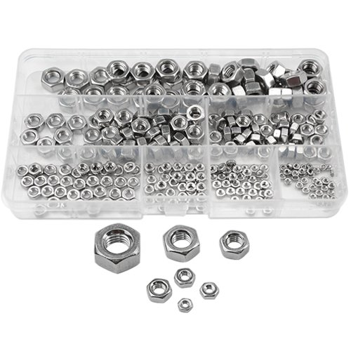 XLX 300pcs M2 M2.5 M3 M4 M5 M6 M8 304 Stainless Steel Lock Hex Nuts Assortment Kit with Box
