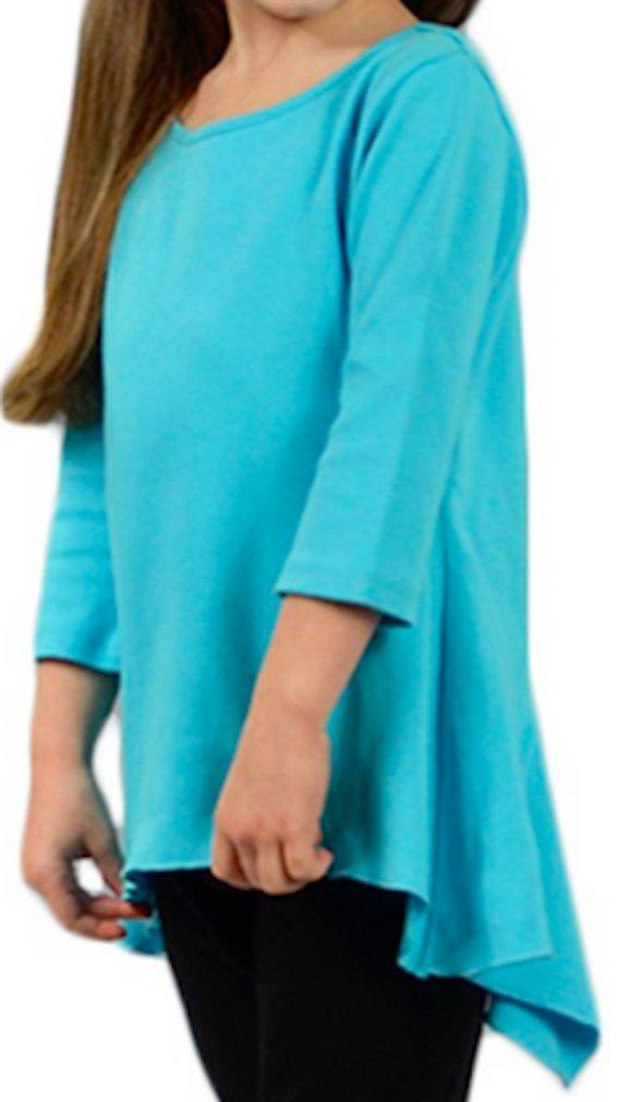 Monag 100% Cotton Swing Tee with 3/4 Length Sleeves and Handkerchief Hem.