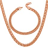 U7 18K Rose Gold PlatedMen Hip Hop Jewelry Set of 6mm Wide Franco Curb Link Bracelet & Necklace (8.3''/30'')