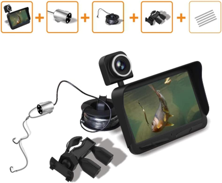 ROWEQPP Professional Double Lens Fish Cameras Fishing Professional Night Vision Fish Finder DVR Video Underwater Fishing Camera Overwater Camera