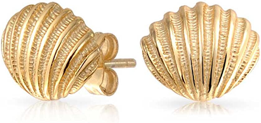 9MM 14k Yellow Gold Scallop Shell Post Earrings