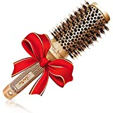 """Brazilian Blow out Round HairBrush with Natural Boar Bristles for Blow drying (1.7"""" Gold) - Professional Salon Styling Brush for Frizz Free Healthy Smooth Hair- Recommended by Pro Hairdressers"""