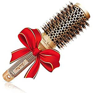 """Brazilian Blow out Round HairBrush with Natural Boar Bristles for Blow drying (1.7"""" Gold) - Professional Styling Brush for Frizz Free Healthy Smooth Hair- Recommended by Salon Hairdressers"""