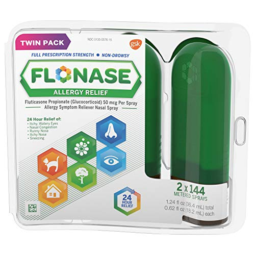 Flonase Allergy Relief Nasal Spray, Allergy Medicine 24 Hour Non-Drowsy , 288 sprays (pack of 2) (Best Time To Take Flonase)