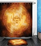 Beshowereb Bath Suit: Showercurtain Bathrug Bathtowel Handtowel Horror House Decor Demon Trap Symbol Logo Ceremony Creepy Ritual Fantasy Paranormal Design Orange
