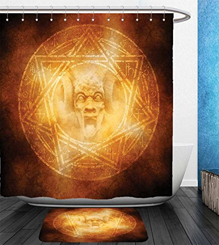 Beshowereb Bath Suit: Showercurtain Bathrug Bathtowel Handtowel Horror House Decor Demon Trap Symbol Logo Ceremony Creepy Ritual Fantasy Paranormal Design Orange by Beshowereb