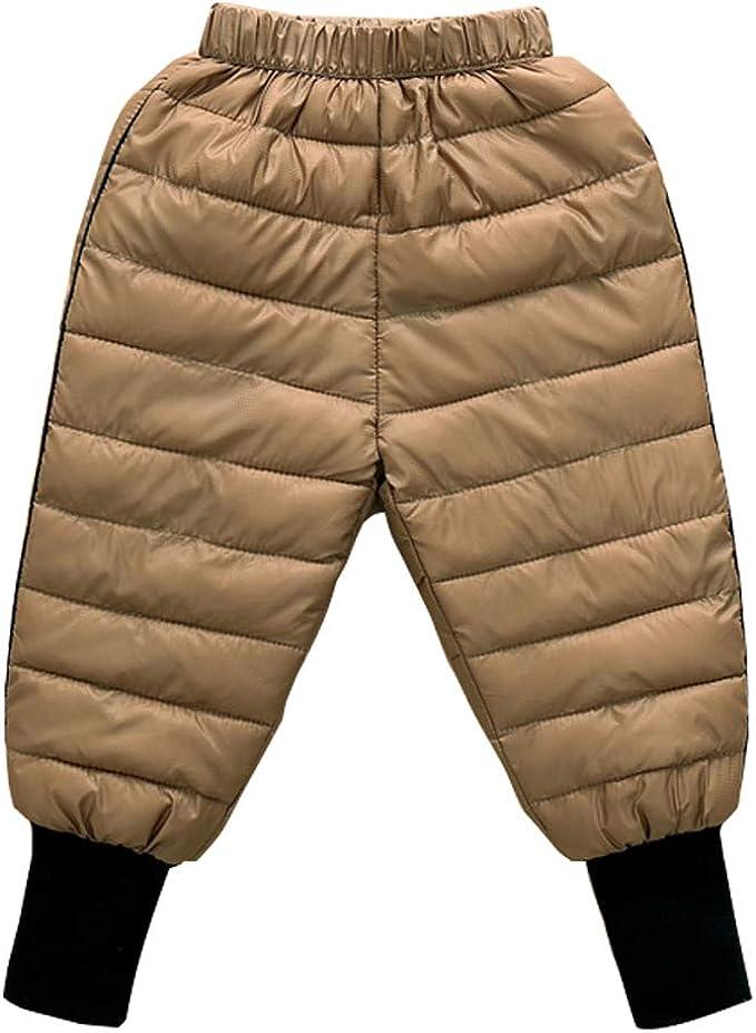 Happy Cherry Kinder Winterhose Leichte Daunenhose Baby Dicke Warm Schneehose mit elastischem Bund Winddicht Sporthose Outdoorhose