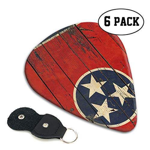 WOODRAIN Tennessee State Vintage Flag Guitar Picks 351 Shape Classic Picks Celluloid Paddles Plectrums 6-Pack .71mm