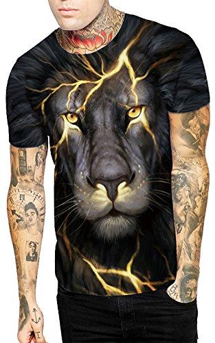 De Top shirt Courts Sport Rond Fitness Emilyle Col Jogging Homme À Lion Imprimé Haut T Foudre Manches EOxfn1wtq1