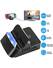 DCMEKA Mini Switch Dock, Replacement for Nintendo Switch Dock Charge and Play Portable Switch Charging Stand, Multi-angle Ajustable Tabletop Playstand for Nintendo Switch with USB C Power Input