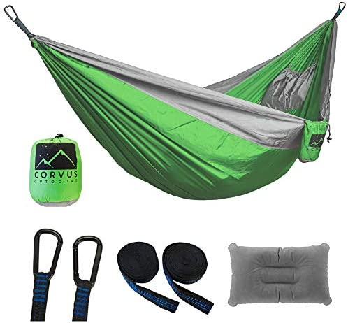 Corvus Outdoors Double Camping Hammock, for Hiking and Backpacking, 2-Person, Portable 118 x73 Size, with Tree Straps and Inflatable Pillow, Plus Additional Storage Pockets, Made of Rugged Nylon