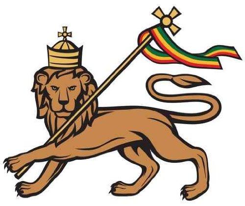 León de judá con una bandera rastafari–24' W x 50.8cm H–despegar y pegar calcomanía de pared por Wallmonkeys