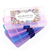 KLOUD City Jewelry Box Organizer (4 Packs Plastic Storage Box15 Compartments) Jewelry Earring Tool Containers (4 Colors)