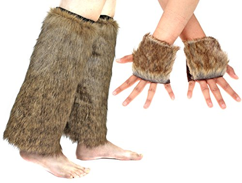 Women Girl Faux Fur Boots Shoes Cuffs Leg Warmers FingerlessFur Gloves Costume Party Set (Color (Faux Leg Warmers)