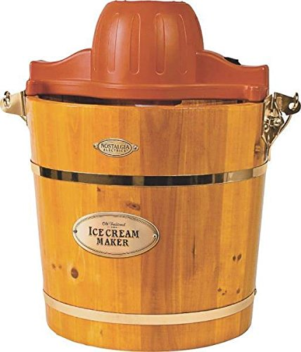 New Nostalgia Icmw400 4 Qt Quart Electric Wooden Ice Cream Freezer Maker 7608383