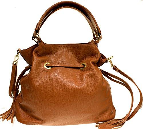 Echt Leder Handtasche Shoppertasche Schultertasche Damentasche cognac