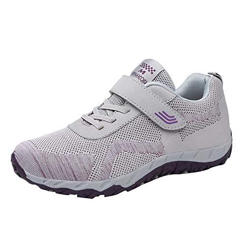 Oliviavan Women's Leisure Mesh Sport Shoes,Ladies Breathable Non-Slip Flat Light Sneaker Gray