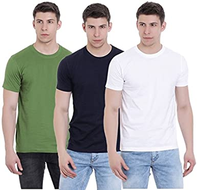 98d75e0f297e FAB69 Solid Men's Round Neck Half Sleeve Cotton Plain Catcus Green/Navy  Blue/White T-Shirt (Combo Pack of 3) - Leather Patch - Bottom Hem: Amazon.in:  ...