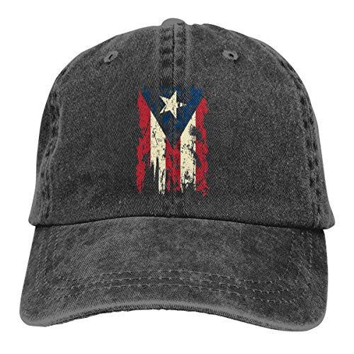 Patricia Christian Trucker Hat Vintage Distressed Puerto Rico Flag Summer Mesh Hat with Adjustable Snapback Strap Black