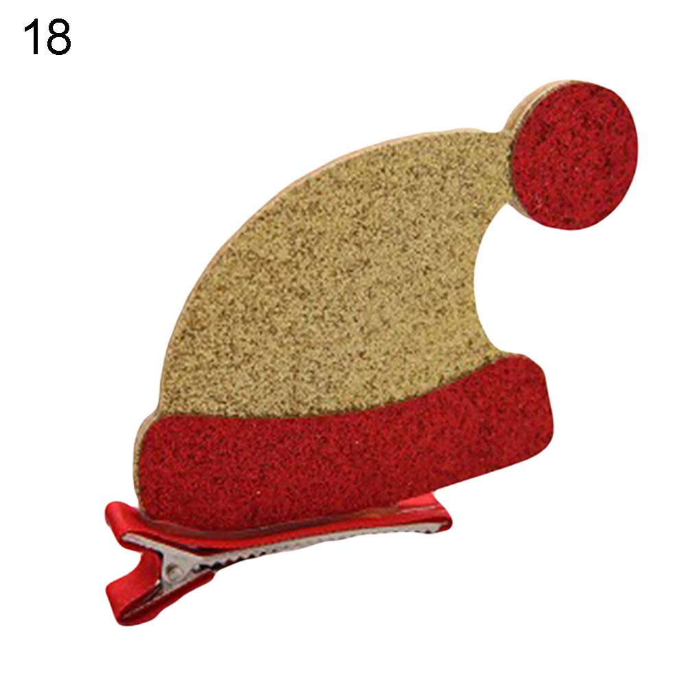 Quietcloud 1Pcs Baby Girl Christmas Hair Clips,Xmas Tree Sock Cap Hat Star Gloves Shape Hairpin # 18