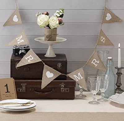 Ginger Ray Vintage Affair Mr. & Mrs. Hessian Burlap Bunting Wedding or Party Decoration Banner, Brown