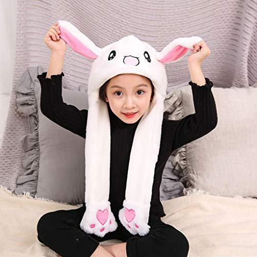 Women Girls Kids Fashion Moving Hat Rabbit Ears Plush Sweet Cute Animal Airbag Cap Winter Warm Bunny Cap Earflap Beanie Fluff Costume Hood Toys Thanksgiving Xmas Gift