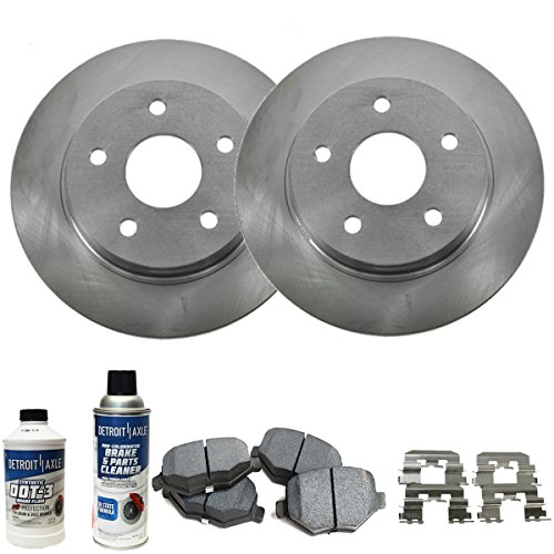 Detroit Axle - Complete Rear Brake Rotors Set & Brake Pads w/Clips Hardware Kit Premium GRADE & BRAKE CLEANER & FLUID INCLUDED for 03-04 Infiniti G35 - [03-05 350z] - - Set Hardware Complete