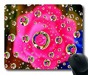 Design Mouse Pad Desktop Laptop Mousepads Pink Flower Water Drop Reflection Comfortable Office Mouse Pad Mat Cute Gaming Mouse Pad