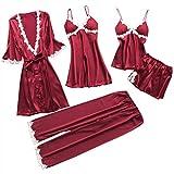 Alalaso 5PC Set Sleepwear for Women Sexy Lace Lingerie Nightwear Underwear Babydoll Shorts Tops