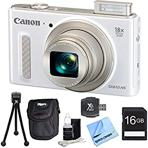 "PowerShot SX610 HS 20.2 MP Digital Camera 18x Zoom 3-inch LCD - White 16GB Bundle. Bundle Includes 16GB Secure Digital SD Memory Card, Hi-Speed SD USB 2.0 Card Reader, Deluxe Carrying Case, 5"" Flexible Mini Table-top Tripod, and More"