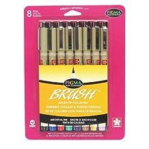 Pigma Brush Sakura 38062 Assorted Colors Brush Pen Set, Multicolored, 8-Piece