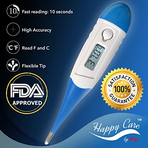 Best 2016 FDA Fast 10 Sec Reading Digital Medical Thermometer for Oral, Rectal, Axillary armpit Underarm Body Temperature by Enji, clinical Detecting Fever in Infant, Babies, Children, Adults and Pets (Small Lab Oven compare prices)