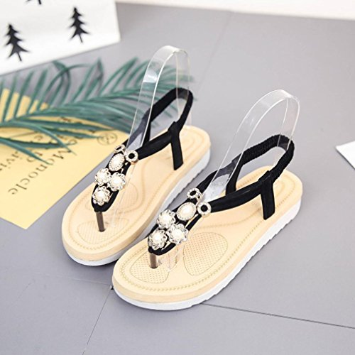 Bovake Summer Women Sandals, | Thick soled Slip Flat Muffin Sandals | Bohemia High Heels Ankle Shoes Flat Wedges Shoes Footwear Flip Flop Sandal | No Rubbing | Toes Comfortable To Wear Black