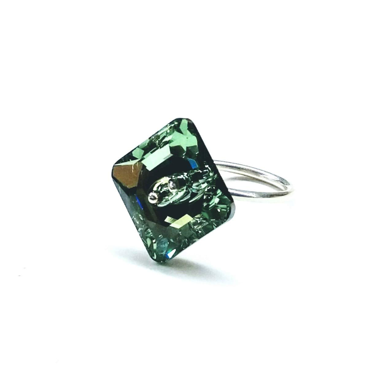 1930ca667 Amazon.com: Sterling Silver Green Chrysolite Swarovski Crystal Shank Button  Ring: Handmade