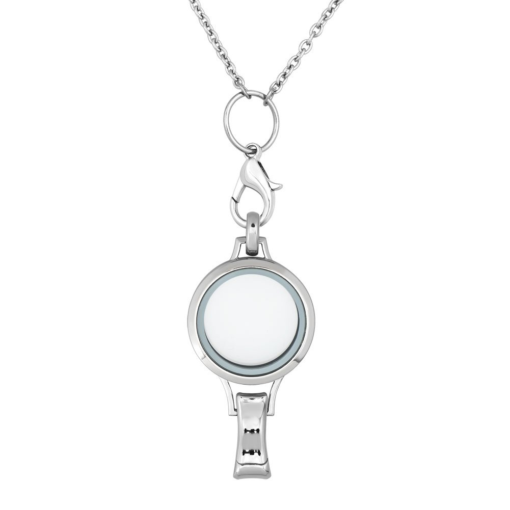 ShinyJewelry Id Badge Holder Necklace Living Memory Glass Locket Pendant For Floating Charms (2)