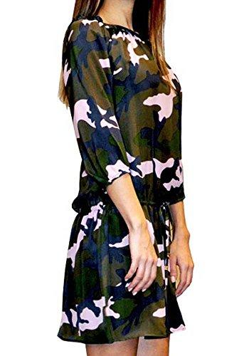 Ana Milano Bedrucktes Tarnung Kleid Frau Pires Nicole 100 Seide 4rpR4