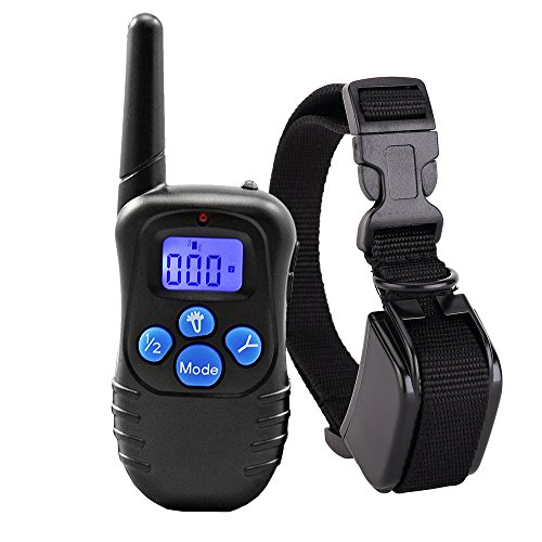 Homeled 330 Yards Remote dog training collar rechargeable and waterproof LCD Screen shock collar Beep / Vibration / Shock puppy training collar adjustable Nylon collar Fits all dogs