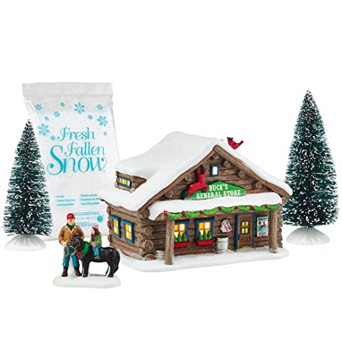 Department 56 by Enesco Holiday In The Woods General Store Gift' Set (Fresh Village Fallen Snow)
