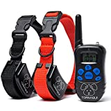 Training Dog Collar - Dogs Shock Collar Training Anti-Bark Collar With Remote Rechargeable Beep Vibration Waterproof Static Pets E-Collar