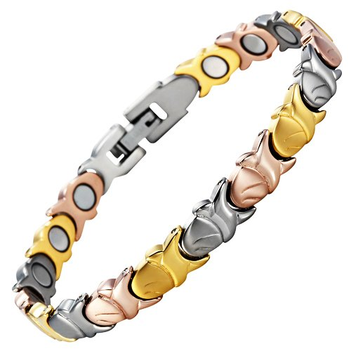 Womens Titanium Magnetic Therapy Bracelet for Arthritis Pain Relief Tri Colour Size Adjusting Tool and Gift Box Included By Willis - Suits Unique Tri
