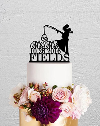 Fishing Initials Mr And Mrs Hook On Love Last Name Custom Cake Topper For Wedding Anniversary Cake Topper Funny Wedding Present For The Couple by Dikoum
