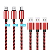 Micro USB Cable,[10ft3Pack] by Ailun,High Speed 2.0 USB A Male to Micro USB Sync & Charging Nylon Braided Cable for Android Smartphone Tablets Wall and Car Charger Connection [RedBlack]