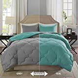 Cheap Full Size Bedroom Sets Comfort Spaces – Vixie Reversible Goose Down Alternative Comforter Mini Set - 3 Piece – Teal and Grey – Stitched Geometrical Pattern – Full/Queen Size, Includes 1 Comforter, 2 Shams