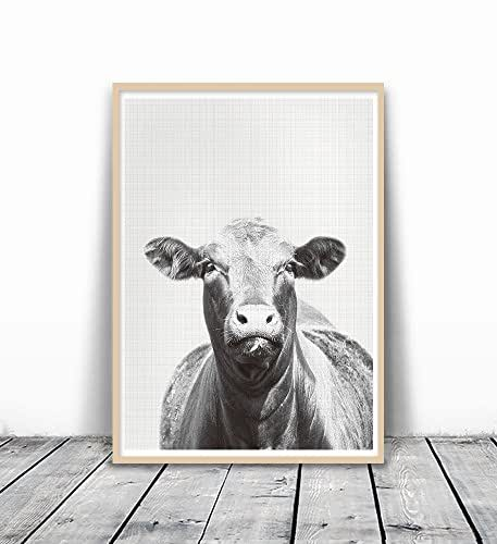 Black and White Animal Print, Cow Photography, Farm Print, Cow Print, Gray Photography, Animal Print Nursery, Art Print, Photography Print, Cow Art, Black and White Cow Art, Animal Photography, 8x10