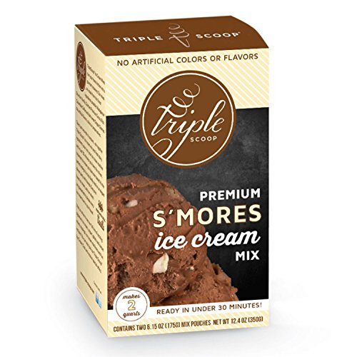 Triple Scoop Premium Ice Cream Mix, S'mores, starter for use with home ice cream maker, no artificial colors, ready in under 30 mins, makes 2 qts (1 15oz box)