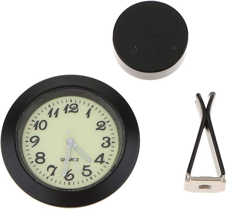B Baosity Mini Auto LKW Armaturenbrett Metall Uhr Innen Nachtleuchtende Quarzuhr /Φ 45mm Silber Selbstklebend